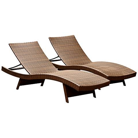 Palisades Brown Wicker Outdoor Adjustable Chaise Set of 2