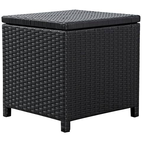 Madeira Black Wicker Outdoor End Table Storage Ottoman