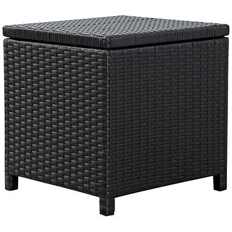 Madeira Black Wicker Outdoor End Table Storage Ottoman