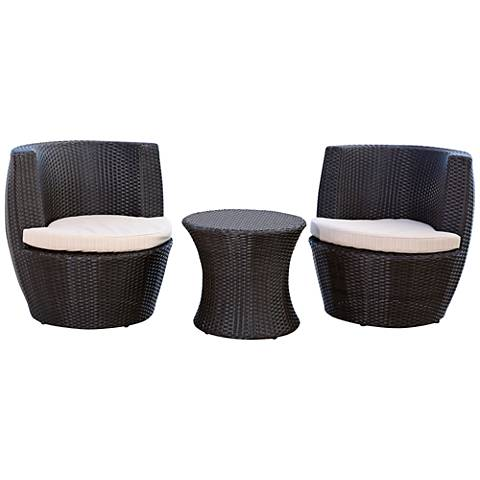 Madeira Espresso Wicker 3-Piece Outdoor Patio Chat Set