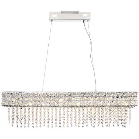 "Marais 36"" Wide Rectangular Crystal LED Island Pendant"