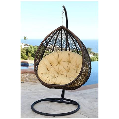 Madeira Espresso Wicker Outdoor Patio Swinging Pod Chair