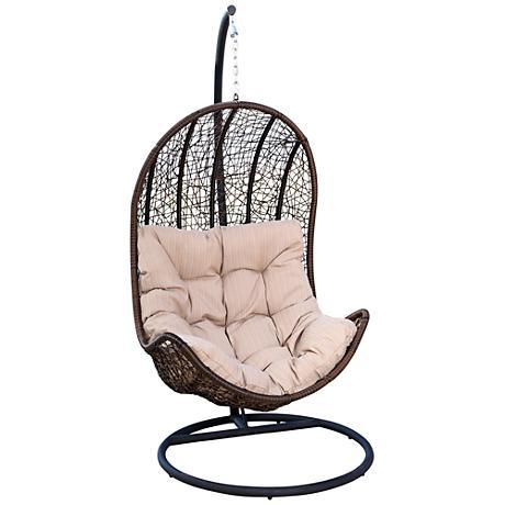 Madeira Espresso Wicker Outdoor Patio Swinging Egg Chair