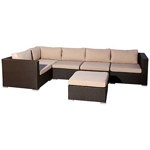 Madeira Espresso Wicker 6-Piece Outdoor Sectional Set