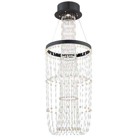 "Evelyn 17 1/2"" Wide Black Crystal LED Chandelier"