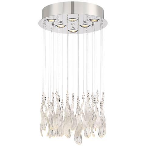 "Duille 19 3/4"" Wide Clear Glass Leaves LED Pendant Light"