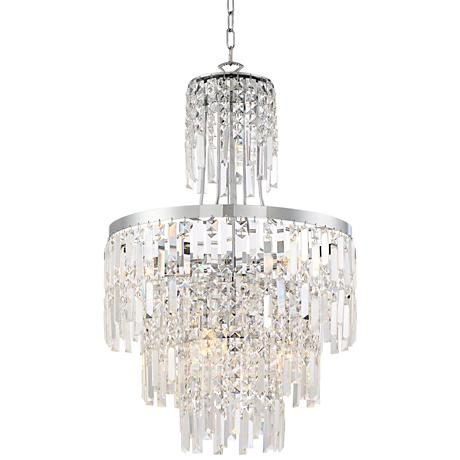 """Stella 19 3/4"""" Wide Chrome with Crystal 6-Light Chandelier"""