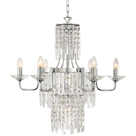 """Stella 29"""" Wide Chrome with Crystal 7-Light Chandelier"""