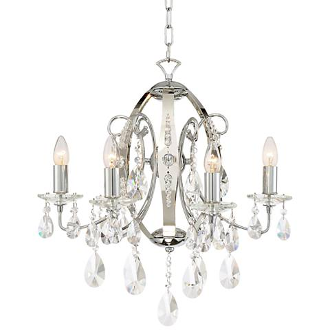 "Lhasa 21"" Wide Chrome with Crystal 6-Light Chandelier"