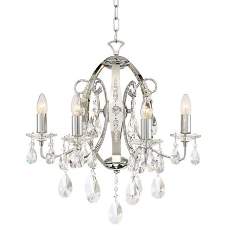 """Lhasa 21"""" Wide Chrome with Crystal 6-Light Chandelier"""