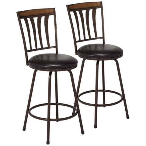darlington brown swivel counter stool set of 2 9j629 lamps plus. Black Bedroom Furniture Sets. Home Design Ideas