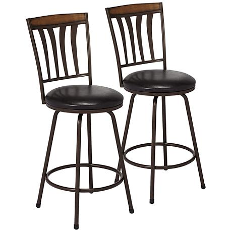 darlington brown counter stool set of 2 9j629 lamps plus. Black Bedroom Furniture Sets. Home Design Ideas
