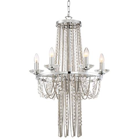 "Lucia 21 1/2""W Chrome with Crystal 6-Light Chandelier"