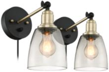 Morni Painted and Antique Brass Plug-In Set of 2 Wall Lamps
