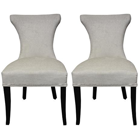 Cosmo White Regency and Slate Crochet Side Chair Set of 2