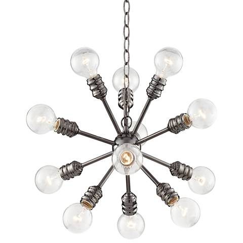 "Blencoe Black Nickel 25""W 12-Lt Clear Globe Bulb Chandelier"