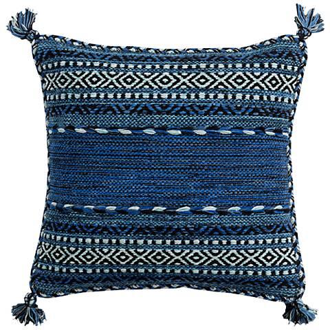 "Surya Trenza Cobalt Blue 20"" Square Throw Pillow"