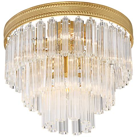 """Candide 14"""" Wide Antique Gold Ceiling Light"""