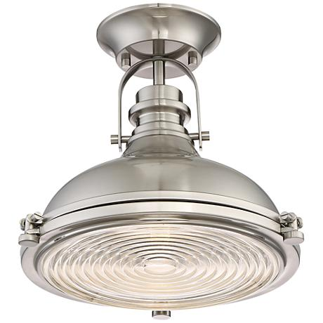 "Verndale 11 3/4""W Brushed Nickel Industrial Ceiling Light"