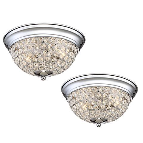 Possini Euro Faith Chrome-Crystal Ceiling Light Set of 2
