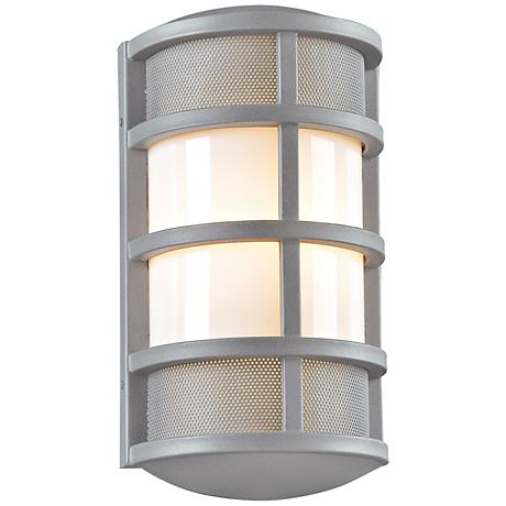"""Olsay 15"""" High Silver Capsule Outdoor Wall Light"""