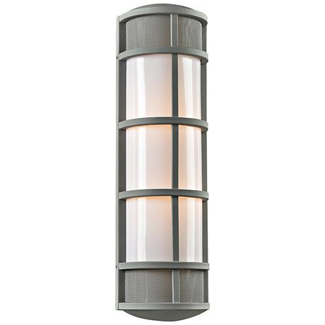 """Olsay 27"""" High Silver Capsule Outdoor Wall Light"""