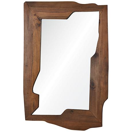 """Gunderson Natural Wood 29"""" x 42"""" Abstract Wall Mirror"""