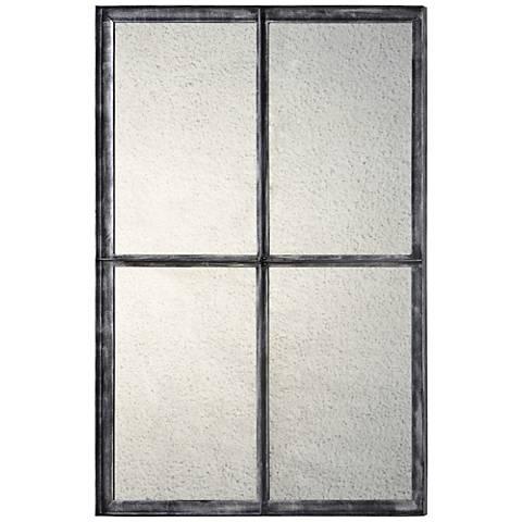"Aspen Antiqued Gray 24"" x 36"" Rustic Wall Mirror"