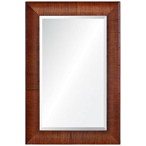 "Moran Woodgrain 34"" x 36"" Framed Rectangular Wall Mirror"