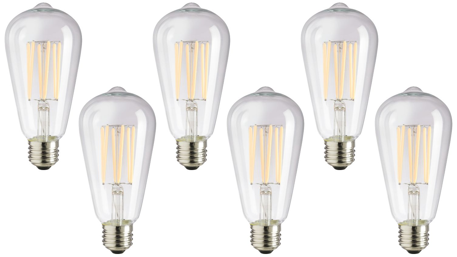 75w equivalent clear 8w led dimmable edison bulb 6pack