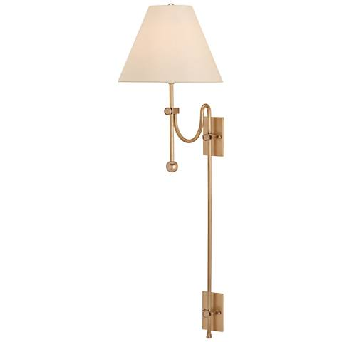 "Arrowpoint 42"" High Antique Brass Swing-Arm Wall Lamp"