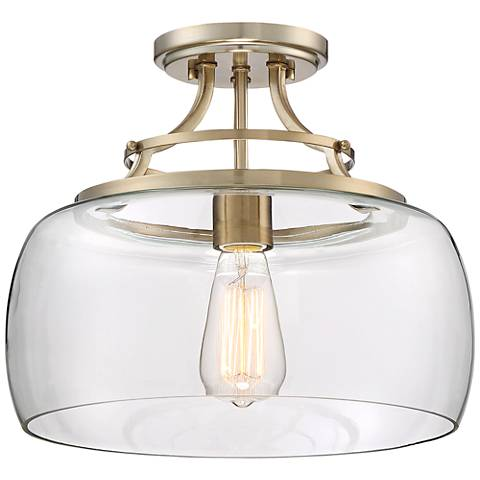 "Charleston Brass 13 1/2"" Wide Clear Glass Ceiling Light"