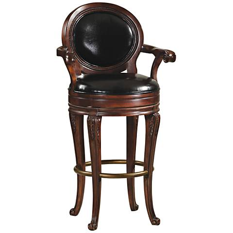 "Saranac 30 1/2"" Black Faux Leather Swivel Barstool"