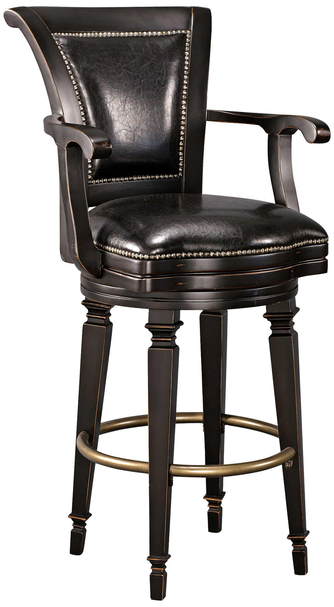 Northport 30 1/2  Black Faux Leather Swivel Barstool  sc 1 st  L&s Plus : white faux leather stool - islam-shia.org