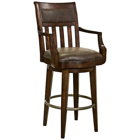 """Harbor Springs 30 1/2"""" Brown Faux Leather Swivel Barstool"""