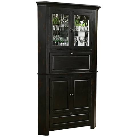 Cornerstone Estates Worn Black 2-Drawer Wine and Bar Cabinet