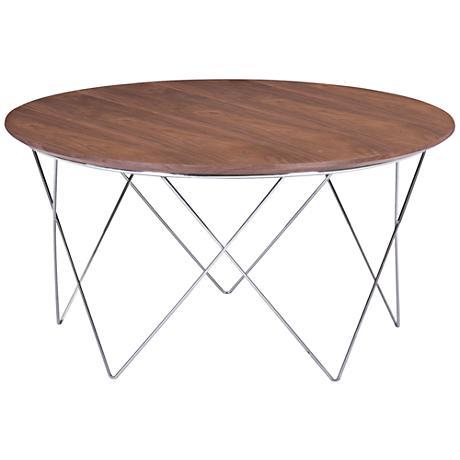 Zuo Macho Walnut And Chrome Round Coffee Table 9k198 Lamps Plus