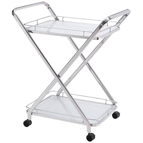 Zuo Vesuvius Stainless Steel 2-Shelf Serving Cart