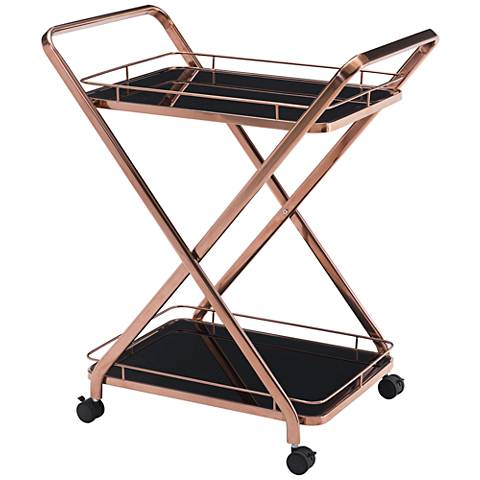 Zuo Vesuvius Rose Gold Steel 2-Shelf Serving Cart