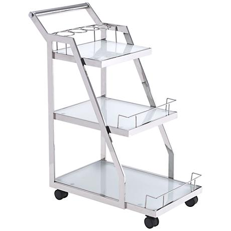 Zuo Acropolis Stainless Steel 3-Shelf Serving Cart