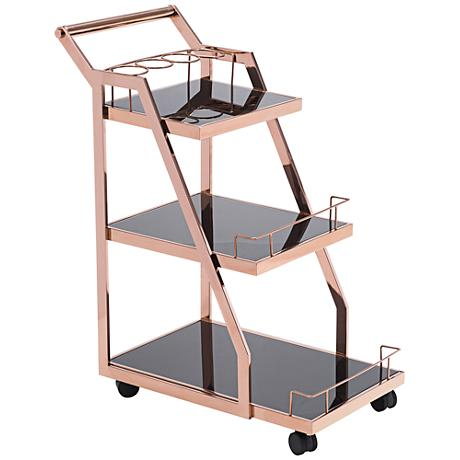 Zuo Acropolis Rose Gold 3-Shelf Serving Cart