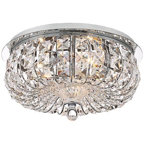 """Lovell 12"""" Wide Chrome - Crystal Ceiling Light"""