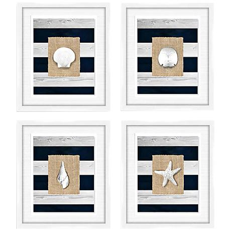 coastal shells 4 piece 24 3 4 square framed wall art set 9k230 lamps plus. Black Bedroom Furniture Sets. Home Design Ideas