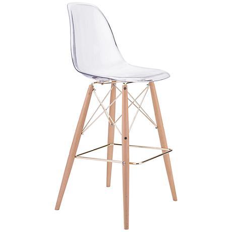 """Zuo Shadow 29 1/2"""" Transparent Seat Beech Wood Bar Chair"""