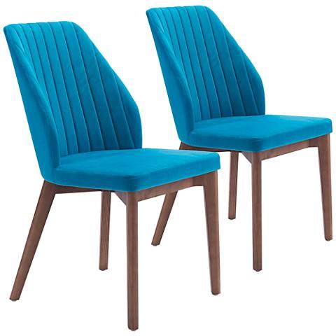 Zuo Vaz Blue Velvet Ridged Wing Dining Chair Set of 2