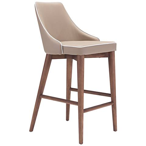 "Zuo Moor 26"" Beige Leatherette Metal Counter Chair"