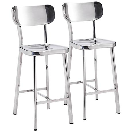 """Zuo Winter 24 1/2"""" Stainless Steel Counter Chair Set of 2"""