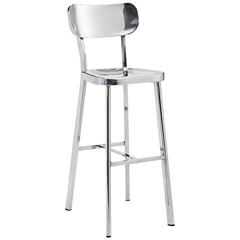 "Zuo Winter 29 1/2"" Classic Stainless Steel Bar Chair"