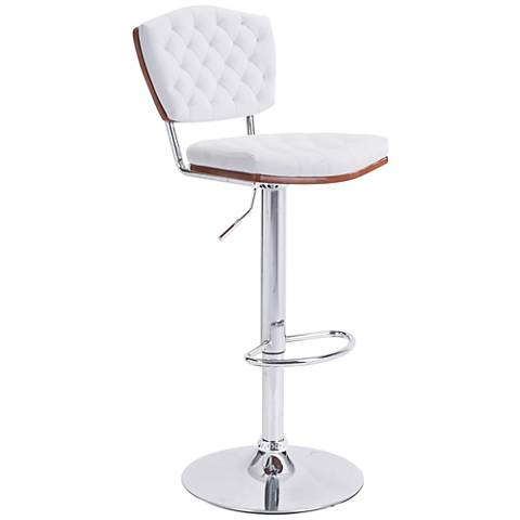 Zuo Tiger White Leatherette Adjustable Chrome Bar Chair