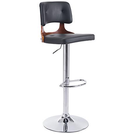 Zuo Lynx Black Leatherette Adjustable Chrome Bar Chair